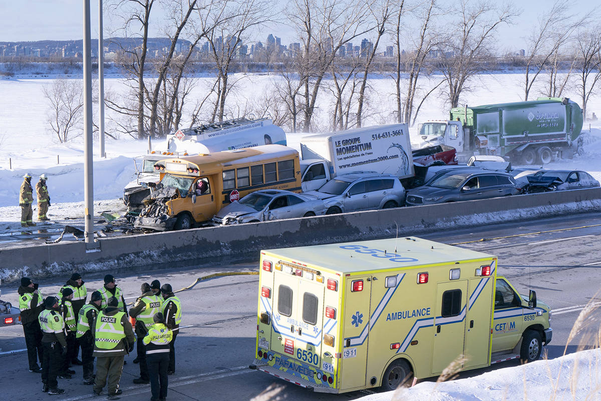 A massive pileup involving numerous vehicles is seen on the south shore of Montreal in La Prairie, Que. on Wednesday, February 19, 2020. THE CANADIAN PRESS/Paul Chiasson