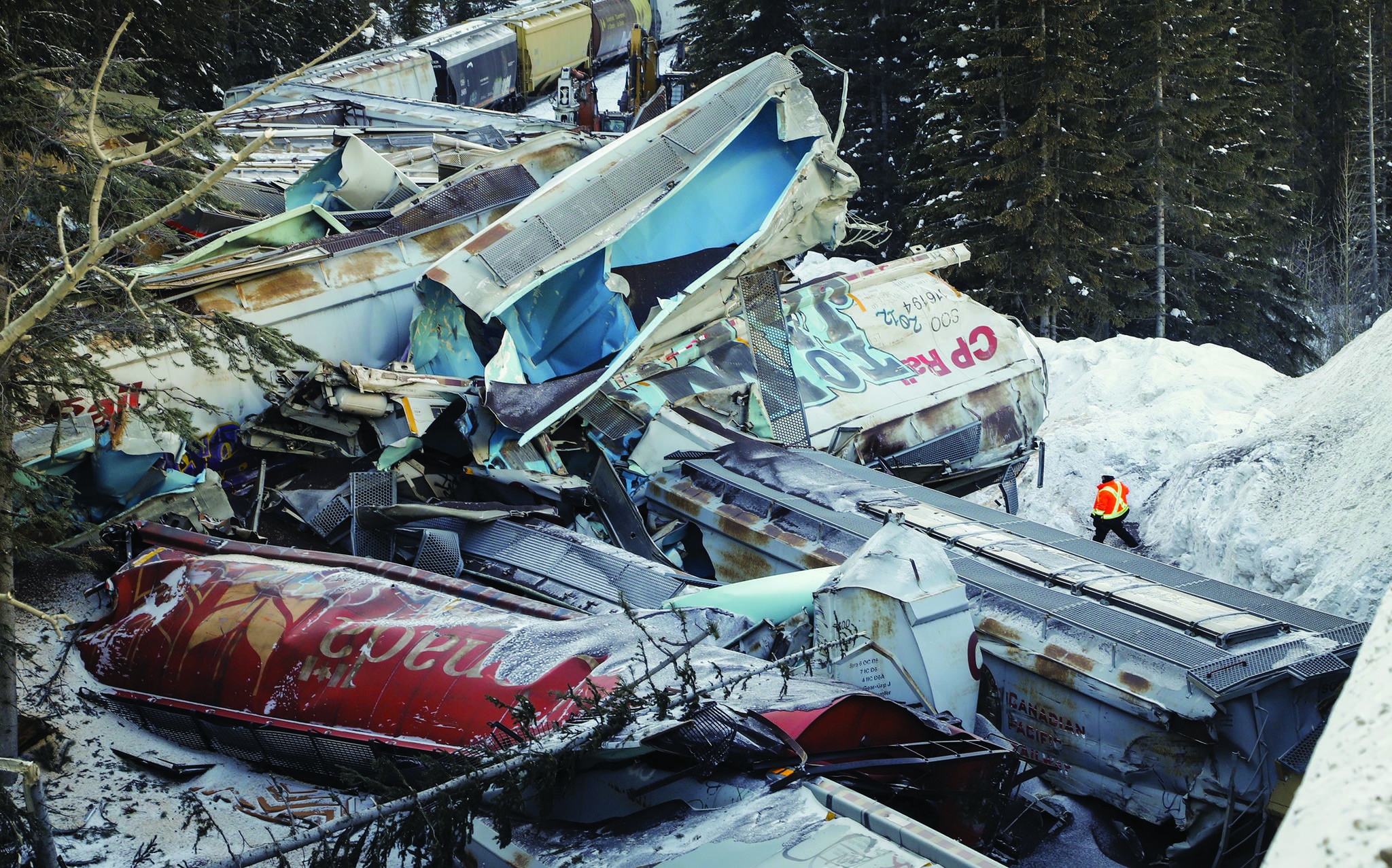 A train derailment is shown near Field, B.C., Monday, Feb. 4, 2019. The RCMP have announced that they are launching a criminal investigation. THE CANADIAN PRESS/Jeff McIntosh