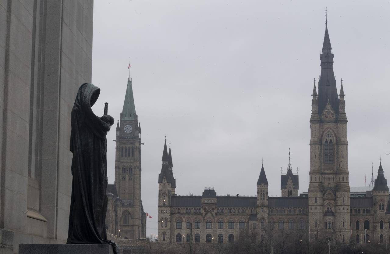 The statue representing justice looks out from the Supreme Court of Canada over the Parliamentary precinct in Ottawa, Thursday March 25, 2021. THE CANADIAN PRESS/Adrian Wyld